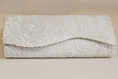 XINJING-S Meine Damen Elfenbein Satin Floral Lace High Heel Peep Toe Pumps Größe Partei, Hochzeitssuite Passende Tasche