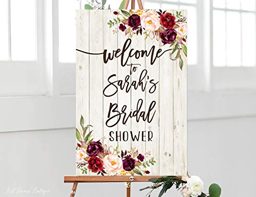 Tamengi Welcome Bridal Shower Sign, Bridal Shower Welcome Sign, Large Welcome Sign, Floral Welcome Sign, Rustic Welcome Sign