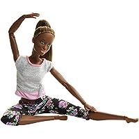 Barbie Fashionista Made to Move, muñeca articulada afroamericana con top gris (Mattel FTG83)