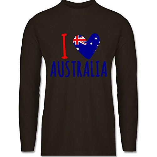 I love - I love Australia - Longsleeve / langärmeliges T-Shirt für Herren Braun