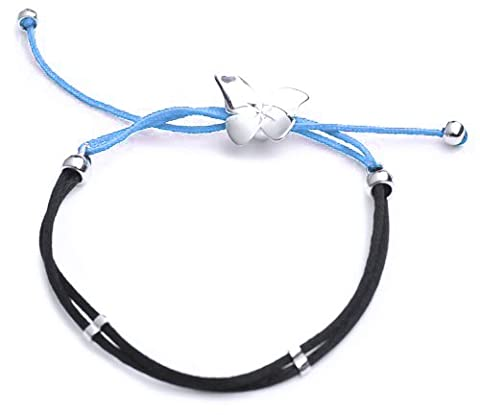 Adara Silver Diamond Cut Butterfly and Black/Blue Cord Bracelet