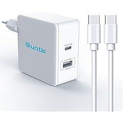 Quntis PD Chargeur Secteur Mural 45W [2 Ports USB/Type C] Quick Charge 3.0 Chargeur Ordinateur Adaptateur Type C Power Delivery pour MacBook Samsung Galaxy Huawei, inclu 2M Câble USB C - C Blanc
