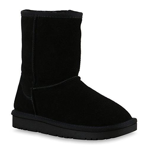 Alle Schwarzen Leder Kostüm (Warm Gefütterte Damen Stiefeletten Bequeme Schlupfstiefel Echtleder Schuhe 129652 All Schwarz 38 |)