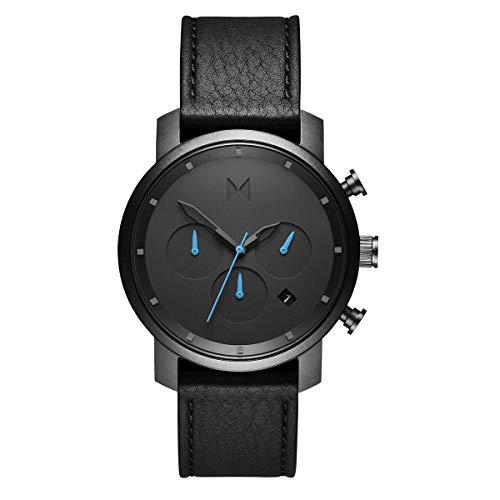 MVMT D-MC02-GUBL - Cronografo da uomo con cinturino in pelle, colore: nero