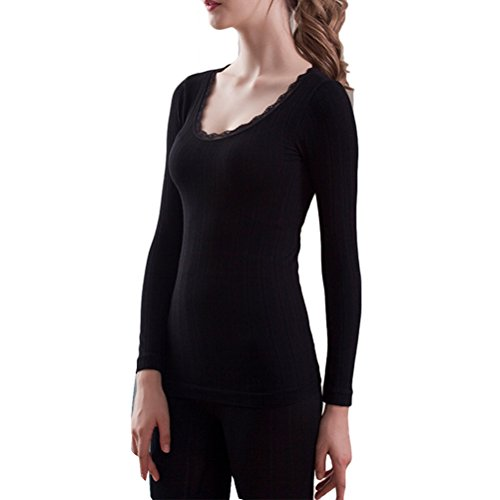 Zhhlaixing Donne Lace Cotton Body-shaped Round Neck Thermal Underwear Set Shirt &Pants Hot Black