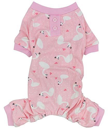 Parisian Pet Hunde-Pyjama/Pyjama für kleine bis mittelgroße Hunde, XS, Pink Swan Pink Swan