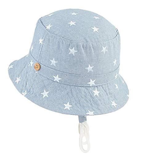 Zegeey Kleinkind Baby MäDchen Jungen Atmungsaktiv Sonnenschutz Sonnenhut HüTe Caps MüTze Beach Outdoor Hut Kappe Kann Gefaltet Werden(Hellblau) -