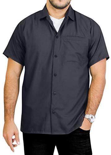LA LEELA männer Hawaiihemd Kurzarm Button Down Kragen Fronttasche Beach Strand Hemd Manner Urlaub Casual Herren Aloha grau_A745 1XL Viskose einfach