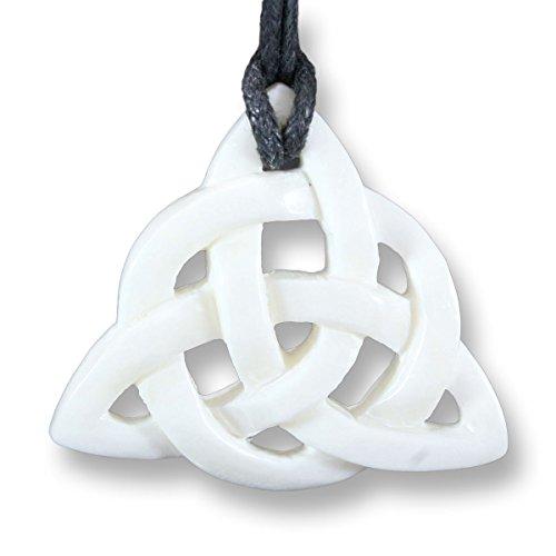 ISLAND PIERCINGS Handarbeit Halskette mit Anhänger Keltischer Knoten aus Knochen PB251