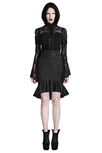 Women's Gothic Vintage Palace Fishtail Skirt?Punk Hip Wrapped Skirt Black Knee-length Skirt,S