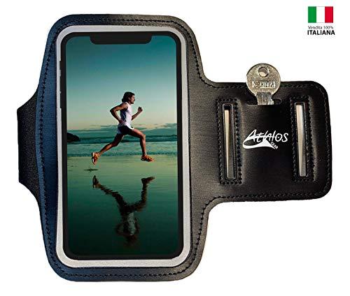 Fascia da Braccio Porta cellulare per Correre, Athlos Gear - iPhone 8 Plus/XS Max/XR, Huawei P20 Pro, Samsung S10/S9 Plus Porta Smartphone Fascia Running [Per Smartphone 5''- 6.5'']