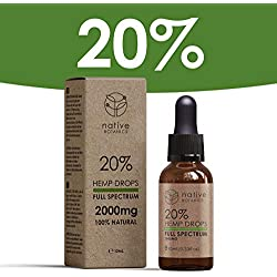 Native Botanics 2000mg (20%) Full Spectrum Hemp Extract Drops to Help Relieve Pain, Anxiety & Stress - Made in UK
