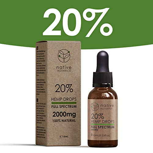 Native Botanics Organic Hemp Seed Oil Drops 20% (2000mg) – Full Spectrum, 100% Pure, Natural & CO2 Extracted Herbal Oil – Anti-inflammatory & Rich in Omega-3 & Omega-6 Fatty Acids to help relieve Pain, Stress & Anxiety – Researched & Developed in the UK