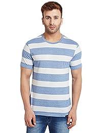 LE BOURGEOIS Men's Sky Blue and White Stripe Cotton T-Shirt
