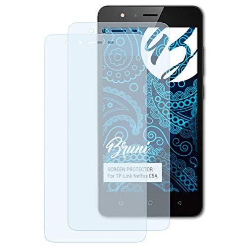 Bruni Schutzfolie kompatibel mit TP-Link Neffos C5A Folie, glasklare Bildschirmschutzfolie (2X)