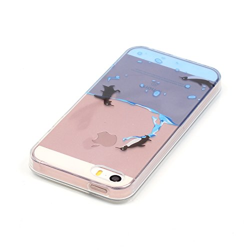 Aeeque® Souple Coque pour iPhone 5S 5 SE, Ultra Slim MinceThin Flexible Caoutchouc TPU Silicone élégant Bleu Fleur Blanche Dessin Case Cover Etui de protection Housse Bumper Motif #11