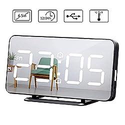 Baban wecker digital, USB angetriebener Wecker,Led Uhr Temperatur Display, digitale uhr grosses display 6.5 Zoll Reise wecker, Dual-Alarm, 4 Modus Helligkeit,Mode Spiegel Aussehen