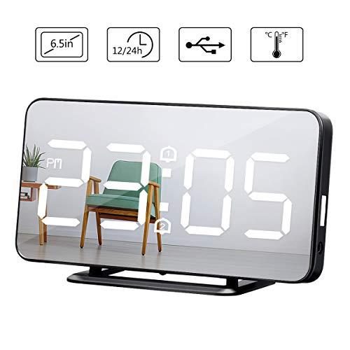 Baban wecker digital, Led Uhr Temperatur Display, digitale uhr grosses display 6.5 Zoll Reise wecker batteriebetrieben, Dual-Alarm, 4 Modus Helligkeit,Mode Spiegel Aussehen