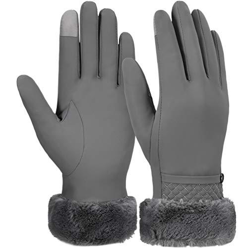 Vbiger guanti invernali caldi touch screen guanti guanti addensati per tempo freddo guanti sportivi casual per donna, grigi