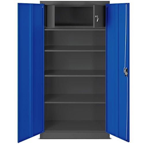 Büroschrank C001D Geheimfach Aktenschrank Metallschrank Universalschrank Flügeltürschrank Stahlschrank Lagerschrank Ideal für Büro Verschließbar (anthrazit/blau)