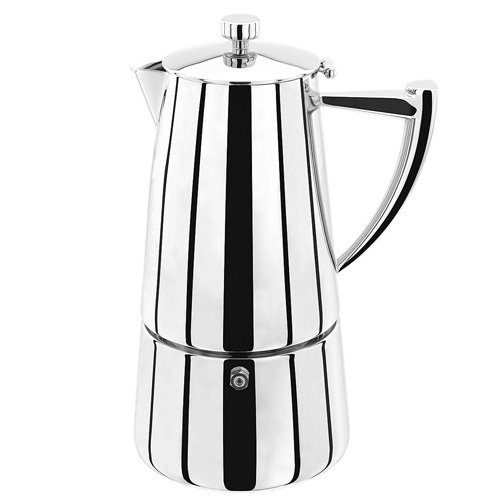 Stellar Art Deco Espressokocher 10 Tassen, 600ml, Edelstahl, Silber, 14.6 x 13.9 x 25.1 cm -