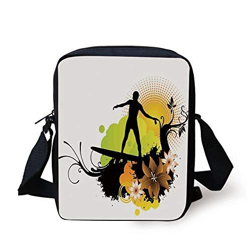 Hawaiian Decorations,Surf Design Athlete Youth Culture Sea Water Sports Waves Joy Under Sun, Print Kids Crossbody Messenger Bag Purse