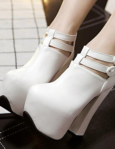 WSS 2016 Chaussures Femme-Habillé / Soirée & Evénement-Noir / Blanc-Gros Talon-Talons-Bottes-Polyuréthane white-us6 / eu36 / uk4 / cn36