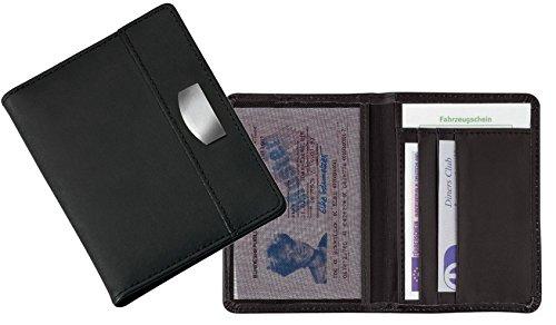 Fahrausweishülle Führerscheinmappe Kfzetui Ausweishülle Kfz-Schein Etui drei Kartenfächer Farbe Schwarz