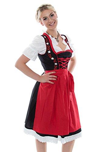 Dirndl Trachtenkleid Kleid 3Tlg. mit Dirndlbluse Schürze Trachtenkleid Dirndl rot schwarz Gr: 38 Dirndl mit Stickerei und Rüschen Wiesn Oktoberfest BAVARIAN CLOTHES Midi 3 Teilig