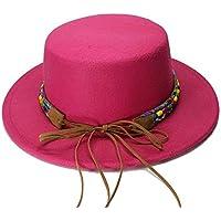 IWG Banda de ala Ancha de Lana Vintage para Mujer Porkpie Porkpie Bowler Hat Nación Viento Banda de Cuero del Grano Calentar (Color : Rosa roja, tamaño : 54cm)