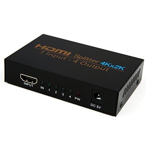 Splitter HDMI, NIERBO HDMI Duplicator Compatible con 4K 3D 1080p 1 Entrada x 4 Salidas HDMI Distribuidor para PS4 PS3 Xbox Nintendo Switch y más Dispositivos HDMI
