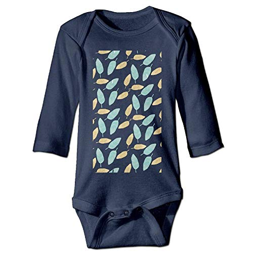 MSGDF Unisex Newborn Bodysuits Leaf Boys Babysuit Long Sleeve Jumpsuit Sunsuit Outfit Navy -