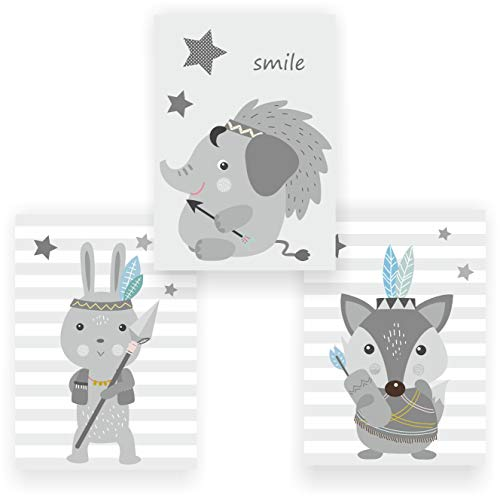 greenluup 3er Set Kinderposter Poster Indianer Elefant Elefanten Fuchs Hase Wandbild Kinderzimmer Babyzimmer Kinder Baby Mädchen Junge Wanddeko