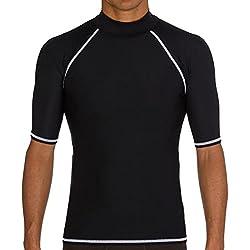 Camiseta unisex para hombres y mujeres, protección UV, surf, natación, buceo, neopreno, manga corta, protección contra erupción, mujer hombre, color negro, tamaño large
