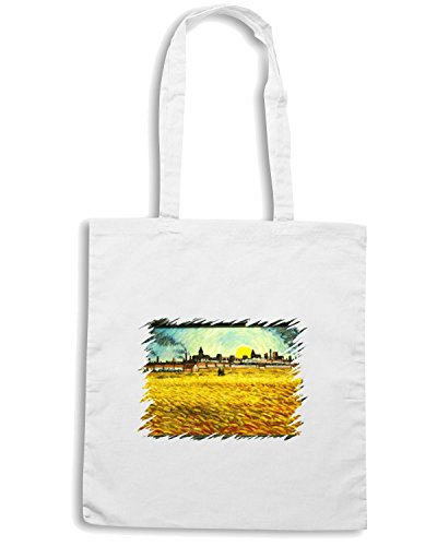 T-Shirtshock - Borsa Shopping TDA0132 van gogh178 campo di grano al tramonto Bianco