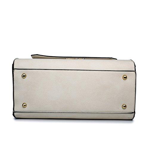 Miss Lulu Damen Leder Handtasche Schultertasche Kunstledertasche mit Vorhängeschloss Beige und Weiß