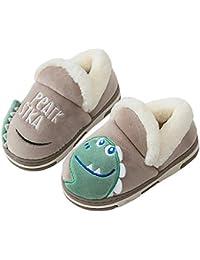 Zapatillas de Estar por Casa para Niñas Niños Invierno Antideslizantes Pantuflas Dinosaurio Caliente Peluche de Zapatilla Slipper Interior Caliente Suave Dibujos
