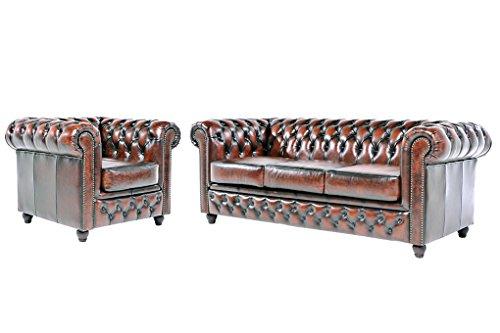Chesterfield Showroom - Original Chesterfield Sofa / Couch - 1+3-Sitzer - Echtes Leder handgewischt - Antik-braun