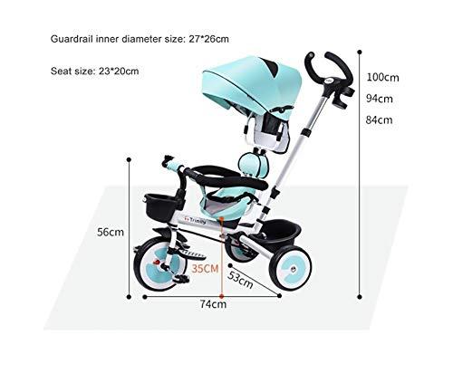 CYSHAKE Bambini Triciclo 3 in 1 Learning Trike, Toddler Bambini Bicicletta Pieghevole Bambino Passeggino con Parent Spinta Maniglia e sede Reversibile, for di 1-6 Anni (Color : Blue)