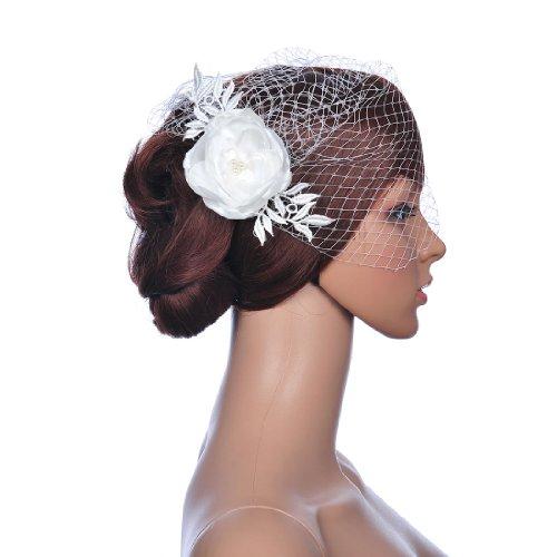 Remedios Weiß Birdcage Braut Haarschmuck Blume Kamm Schleier