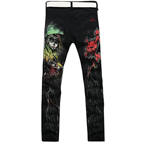Jeansian Hommes Peinte Stretch Slim Denim Casual Pantalons Fashion Pants MJB016 Black