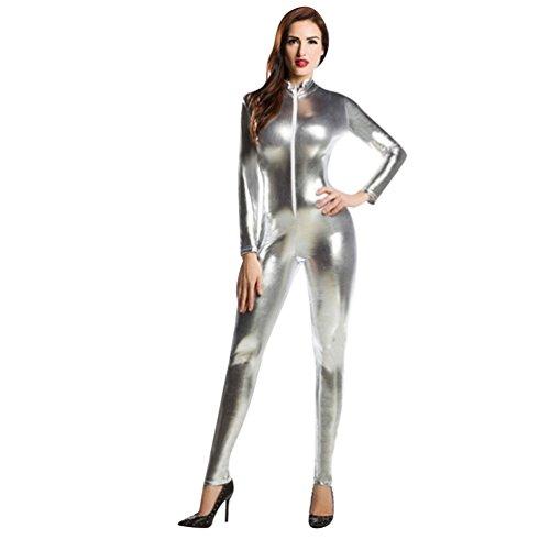 CHENGYANG Damen Catsuit Zentai Kostüm Ganzkörperanzug Bodysuit für Karneval Cosplay Party Anzug Silber L ()