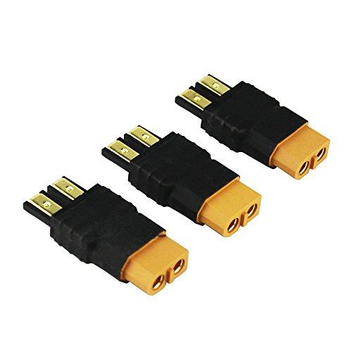 OliYin 3 stücke Männlich TRX Traxxas zu Weiblich XT60 Stecker RC Wireless Ladegerät Adapter LiPo (Packung von 3) (Traxxas-stecker Für Ladegerät)