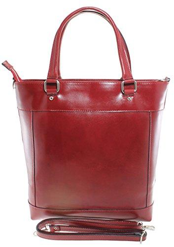 CTM Borsa da donna Classica, Borsa a mano con Manici, 34x36x10cm, Vera pelle 100% Made in Italy Rosso