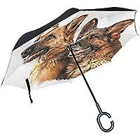 COOSUN Dibujo capa de perro pastor alemán doble del paraguas invertido inversa para el coche y el uso al aire libre a prueba de viento impermeable lluvia protección UV paraguas grande recta con mang