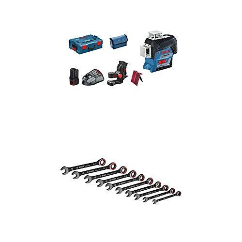 Bosch Professional Linienlaser GLL 3-80 C (1x 2,0 Ah Akku, 12 Volt, Arbeitsbereich mit Empfänger: 120 m, Zubehör Set, in L-BOXX) + 10tlg. Ring Maulschlüssel Satz mit Ratschenfunktion