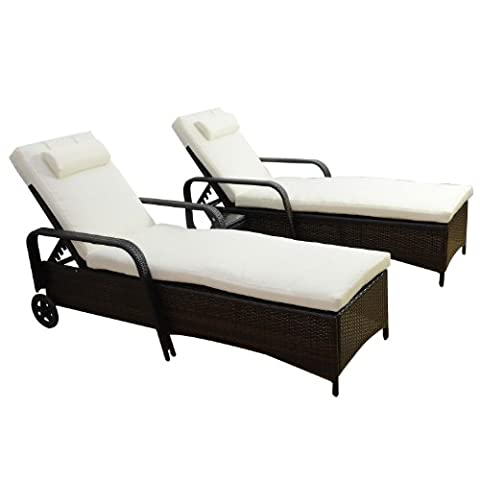 Outsunny Garden Rattan Furniture 3 PC Sun Lounger Recliner Bed Chair Set with Side Table Patio Outdoor Wicker Adjustable head height FIRE RESISTANT Sponge (Brown)