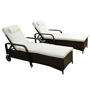 Outsunny Garden Rattan Furniture 3 PC Sun Lounger Recliner Bed Chair Set with Side Table Patio Outdoor Wicker (Brown)