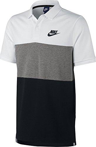 Nike M Nsw Pq Matchup Clrblk Polo de Manga Corta de Tenis, Hombre, Blanco (White / Dk Grey Heather / Black / Black), L