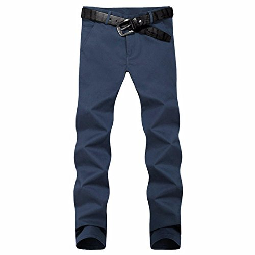 Men's Casual Slim Fit Skinny Cotton Trousers Navy
